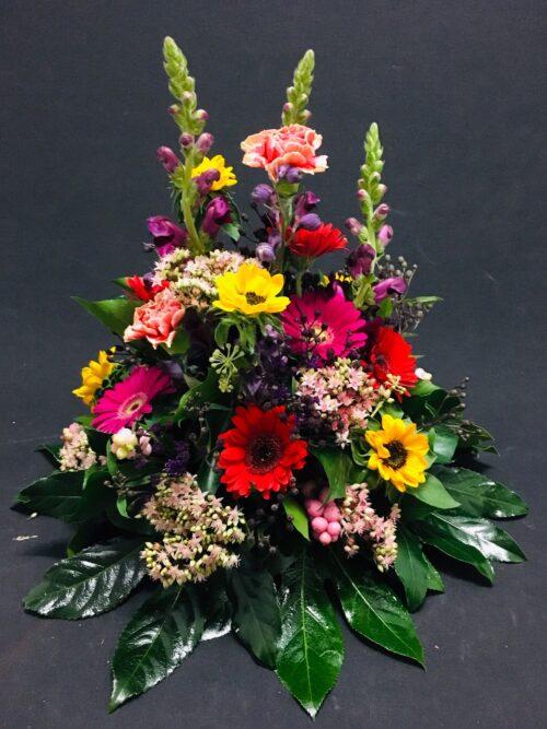Rouw Millefleur met diverse kleuren bloemen